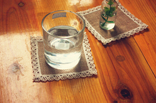 4pcs/lot 10*10CM Linen Cloth Country Style Glass Cup Safety Waterproof Placemat Coaster Fit For Home Kitchen(China)