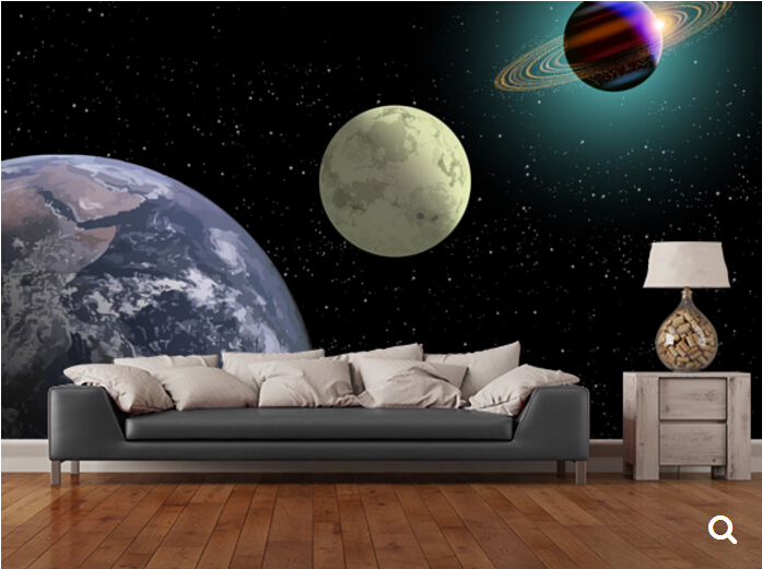 Custom children wallpaper,Earth Moon And Saturn With A New Sun,3D cartoon wallpaper for childrens room ceiling PVC wallpaper<br>
