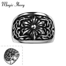 Magic Ikery Arrival Statement Titanium Jewelry Mens Rings Black Stainless Steel Sunflower Ring For Men Fashion Jewelry MKL-R134