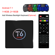 T6 TV Box Android 7.1 Smart TV Box Max 2GB RAM 16GB ROM Amlogic S905X Quad core Cortex A53 4K 2.4GHz WiFi Smart Set Top Box