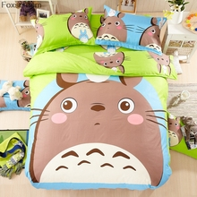 Brand Grey totoro cartoon kids bedding set 3/4pcs 100%cotton duvet cover set bed sheet linen quilt bedclothes pillowcase set