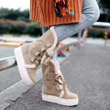 2017 women girl winter autumn warm snow boots increasing height wedge platform mid calf boots booties ski creepers plus size 43(China)