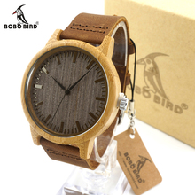 BOBO BIRD A18 Vintage Lightweight Round Bamboo Wood Quartz Watches With Leather Bands for Women Men watches top brand luxury