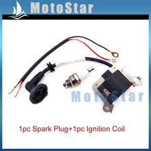 Mini Moto Ignition Coil + 3 Electrode L7T Spark Plug For 33cc 43cc 49cc 2 Stroke Engine Gas Scooter Super Pocket Bike Go Kart