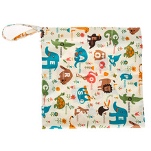 Colorful Printed Diaper Bag Reusable Washable Wet Dry Cloth Zipper Waterproof Baby Nappy Diaper Bag(China)