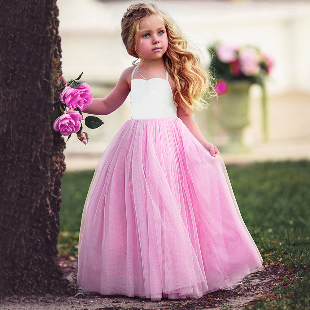Fashion New Baby Girls Pink Summer Dress Kids Girls Princess Party Mesh Lace Tulle Halt Gown Formal Wedding Dresses 1Y-6Y Girls 6