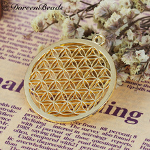 "DoreenBeads Alloy Flower Of Life Pendants Round gold color Hollow Carved 44mm(1 6/8"") x 40mm(1 5/8""), 3 PCs(China)"