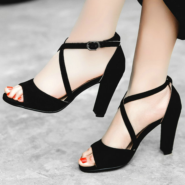 2017 Ankle Strap Sandals Women Summer Shoes Sexy High Heels Open Toe Sandals Fashion Thick Heels Pumps Lady Party Shoes Women 43<br>