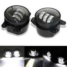2pcs/Pair 30w cree Chip led 4 inch White Round fog lights lens Projector 4'' Fog Lamp For Offroad Jeep Wrangler Dodge Chrysler