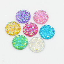 Big Discount!Multi 12mm 50pcs AB Color Flatback Resin Round Stone Beads Flatback Resin Rhinestone For DIY Wedding Decoration