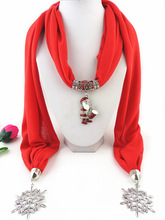 Santa Claus Christmas Tree Heart Snowflake Pendant Scarves Women Beautiful Scarf Jewelry Necklace Soft Elegant Jewellery Scarf