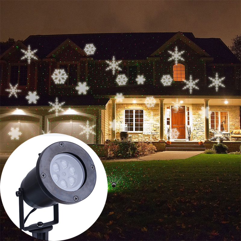 Waterproof outdoor led white snowflake projection lamp The lawn lamp led Christmas lights The stars projection<br>