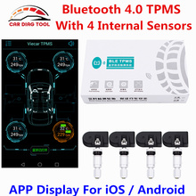 TPMS Bluetooth 4.0 Car Tire Pressure Monitoring System Alarm Warning 4 Internal Sensor OBD Interface For IOS Android APP Display