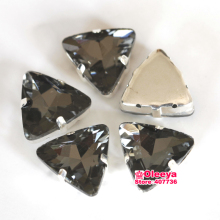 All Sizes Black Diamond Clear Grey Crystal Sew On Claw Rhinestones Tri angle Pointback Fancy Stone with Claws Y3441