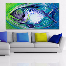 QCART Oil Painting abstract Wall Painting Picture Swimming Fish Paintings On Canvas Living Room Modern No Frame(China)