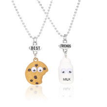 Free shipping Best Friends BFF pendant bead chain necklace fastfood milk cookie biscuit kids jewelry lead nickel free 2pcs/set()