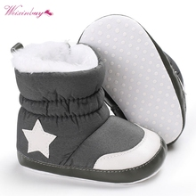 Newborn Baby Boots Unisex Kids Winter Shoes Crib Bebe Infant Toddler Five Star Pattern Snowfield Snow Boots Booty(China)