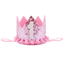 Baby Girl boy kids First Birthday Hat Headband Crown 1 Year Old Princess Hairband photo props Baby Shower party supplies