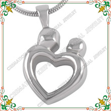 CMJ8260 Wholesale cheap mom and child heart shape cremation jewelry for ashes memorial loved one hair ash urn lockets