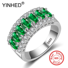 YINHED New Fashion Natural Green AAA Zircon Crystal 925 Silver Rings for Women Luxury Jewelry Wedding Party Finger Rings XMJ501(China)