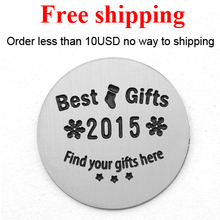 Free shipping new arrival 22mm Stainless Steel Christmas stocking best gifts find your gift hre plate for 30mm living locket(China)