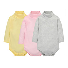 12 Color Baby Clothes 0-24M Newborn baby boy girl clothes Jumpsuit Long Sleeve Infant Product solid turtleneck Baby Rompers(China)