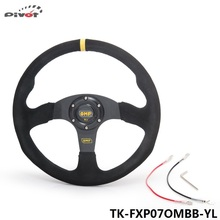 Pivot - 14 inch 350mm Racing Car OM Racing Car Steering Wheel Suede Leather Drifting Steering Wheels TK-FXP07OMBB-YL