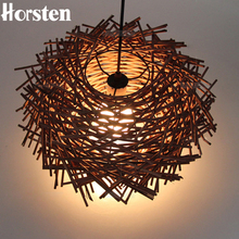 Horsten Art Deco Led Hand Made Bine Pendant Light Wood Pendant Lights Bird Nest Cage Pendant Lamp For Restauran Home Ornament
