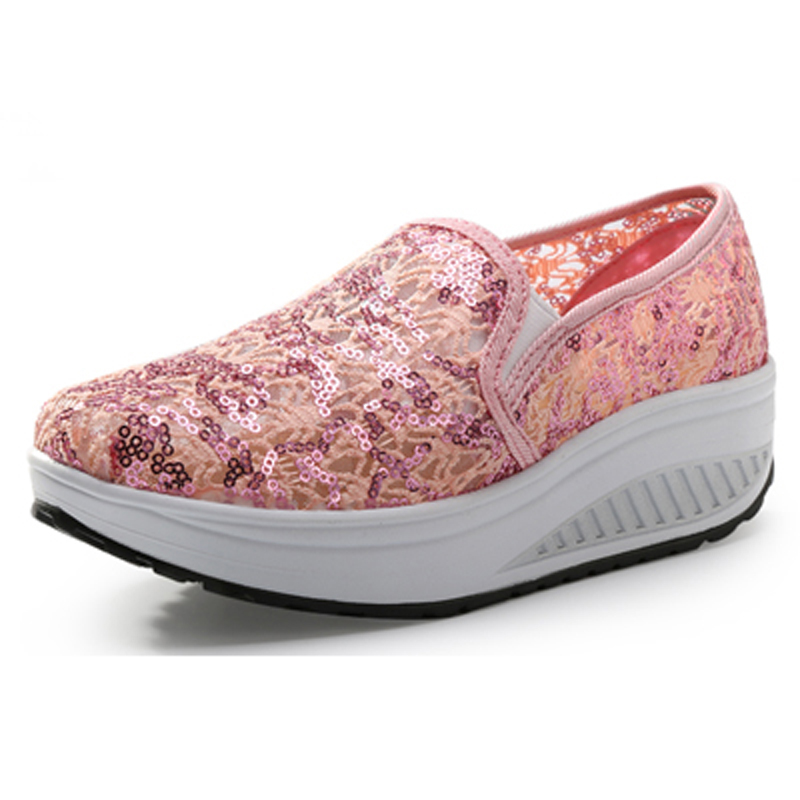 2017 NEW Summer Sequined Cloth Synthetic Women Slip On Low Wedges Massage Breathable Height Increasing Fitness Toning Shoes<br><br>Aliexpress
