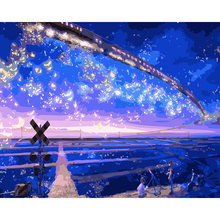 DIY Frameless Wall cartoon Pictures Painting By Numbers Canvas Oil Painting Home Decor modular picture Starry sky train RS177