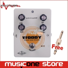 Biyang AC-12 Electric Guitar Pedal Bass True Bypass Effect pedal White Custom Controls Level Top Treble Guitar Pedal +Connector