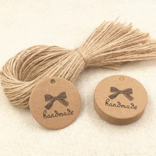 200pcs Kraft Handmade Gift Tags+200pcs Hemp Strings Wedding Favors Brand Tag ,Handmade Candy/Gift Boxes Packing Labels