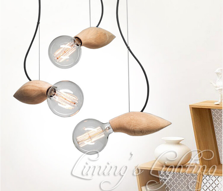 Native Bird Wood Handmade Muuto G80 E27 Bulbs Wooden Bar Chandelier Hanging LED Pendant Lamp Lights Lighting Bulbs Holder Socket<br>