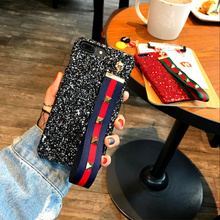 Cool Rock Punk Spikes Rivet Phone Case Bling glitter PC hard back cover with Studded Strap For iPhone 6 6s 4.7inch case 201