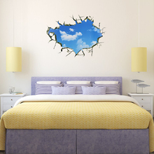 1 pcs Creative 3D Window Hole Landscape Roof Decals Stickers Blue Sky White Cloud Home Decal Wall Stickers(China)