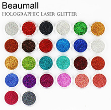 2.5g/pot , 0.2mm (1/128 008) Holographic Laser Glitters Powders Dusts Chrome Pigments For Nail, Tatto Art Decorations