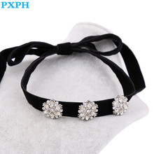 Party Dress Jewelry Sparking Crystal Flower Black Velvet ribbon Neck Necklace For Women N872(China)