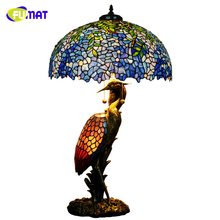 FUMAT European Tiffany Blue Wisteria Shade Table Lamps Art Deco Crane Stand Table Lights For Living Room Bedside Quality Light(China)