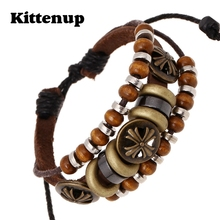 Kittenup Bohemian Handmade Beaded Strand Bracelets Antique Bronze Cross Rivet Studded Bracelet Wristband Wooden Jewelry