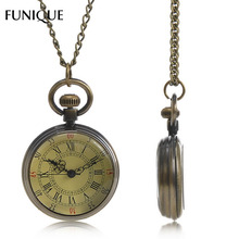 FUNIQUE 2017 New Pocket Watch Men Antique Bronze Tone Round Long Link Chain Pocket Watch Jewelry Gifts For Women Men 82cm