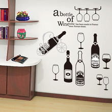 Maruoxuan 2017 New Wine Bottle Wall Stickers Kitchen Room Decoration Cupboard Wardrobe Decal Bar Window Mural Art Wall Decor(China)