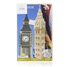 3d puzzle wood Big Ben model kit models & building toy children puzzle 3D wooden puzzle board game C0014-03(China)