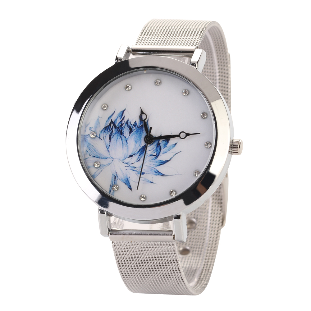 Hot Selling women watches Luxury Stainless Steel Electronics Watches Lotus Flower Women Dress Watches relogio feminino<br><br>Aliexpress