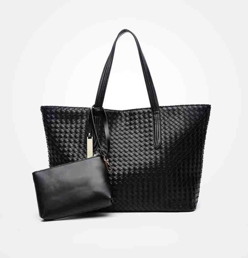 High Quality Soft PU Leather Womens Handbag Soft Weave Big Bag Set Handbag For Woman High Capacity Tote Shopping Purse Sac <br>