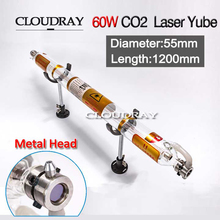 Cloudray 60W Laser Tube Glass Metal Head 60W 1200MM Diameter 55mm For CO2 Laser Engraving Cutting Machine