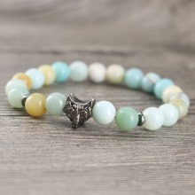Light Blue Loose Stones Gun black Wolf Animal Pattern Design Strong Energy Beaded Bracelets Female Pulseiras Bijoux(China)