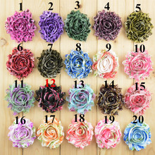 Shabby flowers Leopard pattern Floral 2.5 inch Chiffon Fabric hair bow supply DIY for headbands hair accessories 40pcs/lot