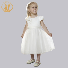 Baby Girls Clothes Vestidos Ball Gown 2017 Dresses Ivory Paillette Pearls Handmade Flowers Bow Girls Dress vestido infantil