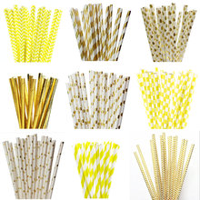 25pcs Yellow Foil Gold Color Paper Straws For Birthday Wedding Decorative Event Party Paper Drinking Straws Supplies
