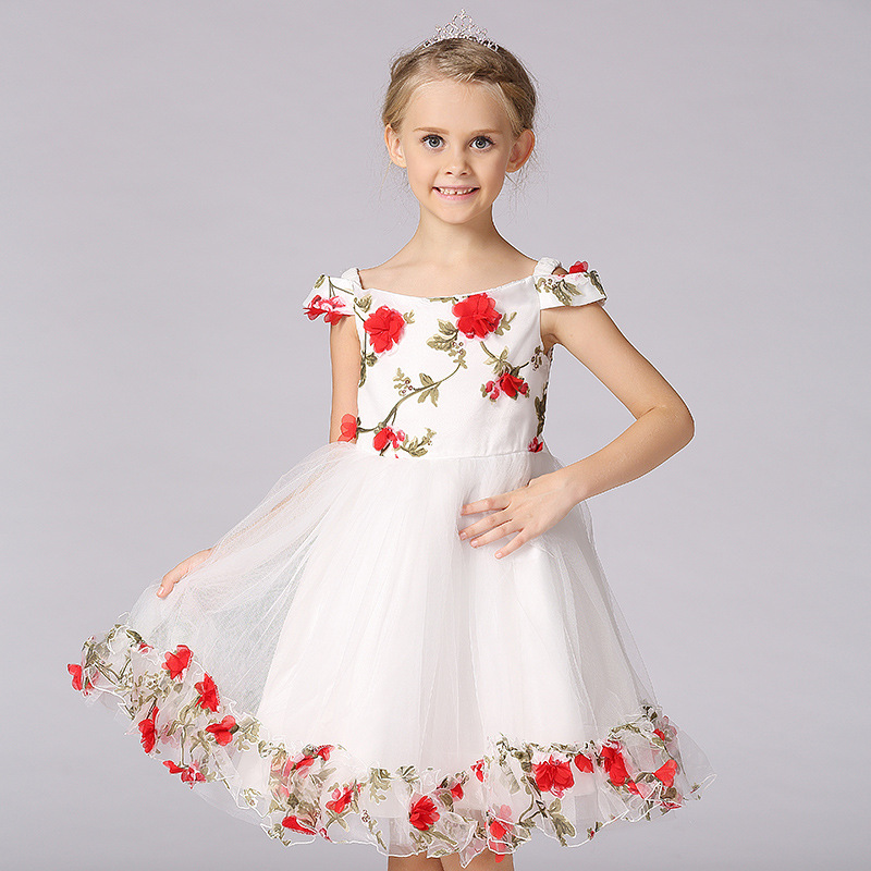 Girls Dress Flower Leaves Wedding White Pageant Bridesmaid Child Clothing 2017 Summer Princess Party Dresses Clothes Size 3-12<br>